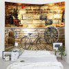 Vintage Style Bicycle Brick Wall With Text Print Tapestry - CAMEL BROWN
