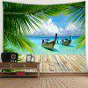 Leisurely Boat Printed Tapestry - GREEN SNAKE