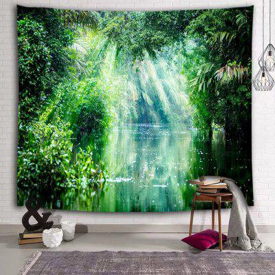 Green Forest Sunshine Lake Printed Tapestry