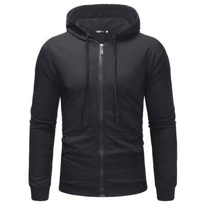 Men's Hoodie Casual Solid Color Hooded Thin Small Terry Sweater Sports Zipper Jacket