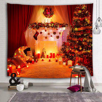 Gorgeous Christmas Tree Stove Lantern Decoration Printing Polyester Sanding Tapestry