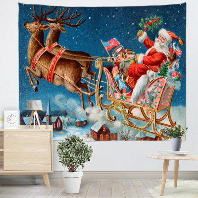 Santa Claus Elk Cartoon Printed Polyester Sanded Tapestry