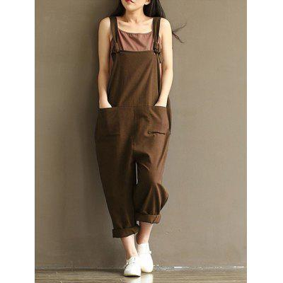 Women's Trousers Casual Loose Sanded Cotton One-piece Strap