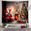 Eve Santa Claus Stove Christmas Tree Printed Brushed Tapestry - FIREBRICK
