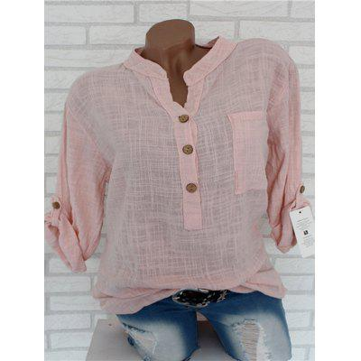 Women's Shirt Solid Color V-neck Pocket Multi-color