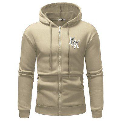 Men's Hoodie Casual Sweater Personalized Print Zipper Sports Hooded Jacket