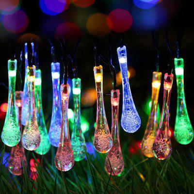 30-LED Water Droplet Shaped Solar Light String Waterproof 6.5M