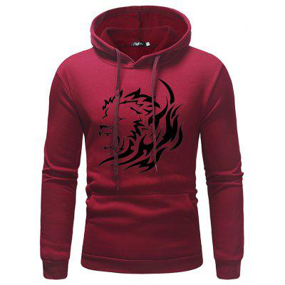 Men's Hoodie Casual Sweater Lion Head Print Hooded