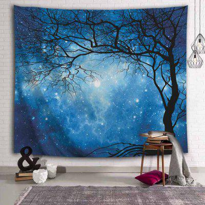 Starry Night Sky Dry Tree Printed Polyester Sanding Tapestry