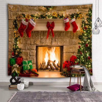 Christmas Tree Stove Socks Printed Polyester Brushed Tapestry
