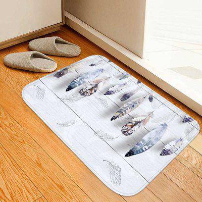 Wooden Board Feather Printed Non-slip Home Mat Carpet