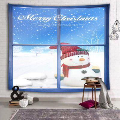 Christmas Snowman Cute Snow Ornament Printed Polyester Brushed Tapestry