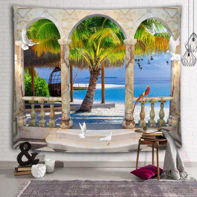 Beach Sea Coconut Tree Tropical Style Holiday Printed Polyester Brushed Tapestry