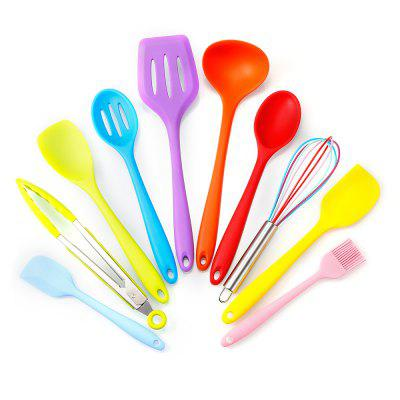 Utensil Set Ecofriendly Colourful Silicone Cooking Tools 10Pcs