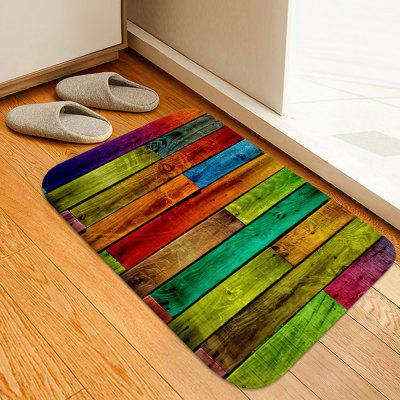 Color Stitching Wood Board Printing Non-slip Absorbent Home Floor Mat
