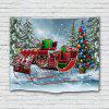 Christmas Sleigh Car Tree Snow Print Polyester Brushed Tapestry - SEA GREEN