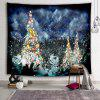Christmas Tree Color Lights Snow Landscape Printing Polyester Sanding Tapestry - LAPIS BLUE