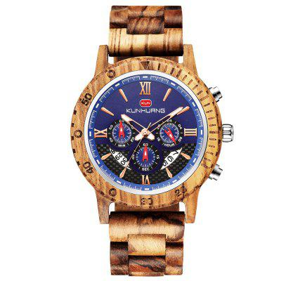 KUNHUANG Men's Watch Wooden Fashion Three-eye Six-pin Multi-function Calendar