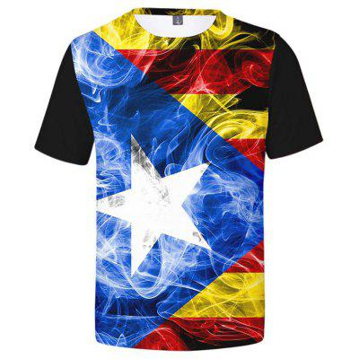 Men's T-shirt Creative 3D Flag Print Short Sleeve