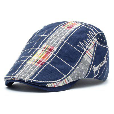 JAMONT Men's British Style Irregular Embroidery Checked Beret