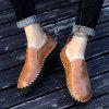 Men's Casual Shoes Hand Stitching Cross-section Leather Large Size - DEEP BROWN