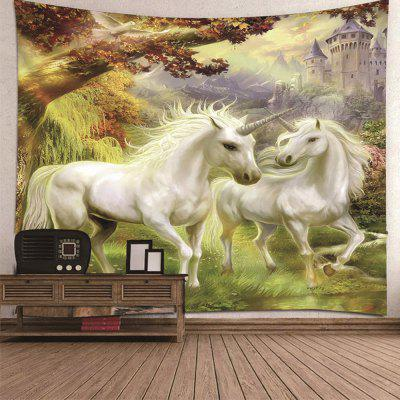 White Horse Grassland Decorative Polyester Printing Universal Tapestry