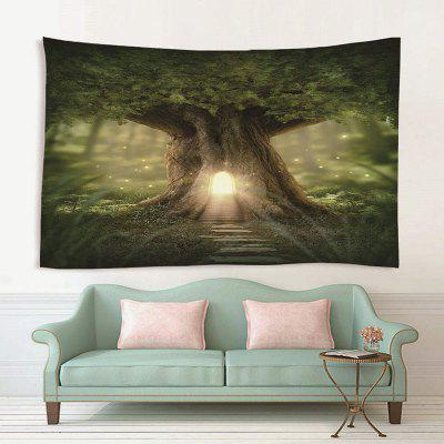 Abstract Small House in Big Tree Trunk Pattern Print Tapestry