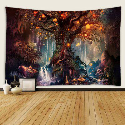 Indoor Wall Decoration Lighting Tree Pattern Polyester Printing Tapestry
