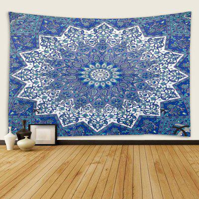 Indoor Wall Decoration Blue Flower Pattern Polyester Printing Tapestry