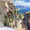Small Town Stone Wall Flower Decoration Polyester Printing Universal Tapestry - MULTI-A