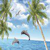 Seaside Coconut Tree + Dolphin Printed Tapestry - MULTI-A