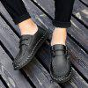 Men's Casual Leather Shoes Hand Stitching Large Size - BLACK