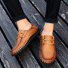 Men's Casual Leather Shoes Hand Stitching Large Size - SANDY BROWN