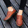Men's Casual Leather Shoes Hand Stitching Large Size - BROWN