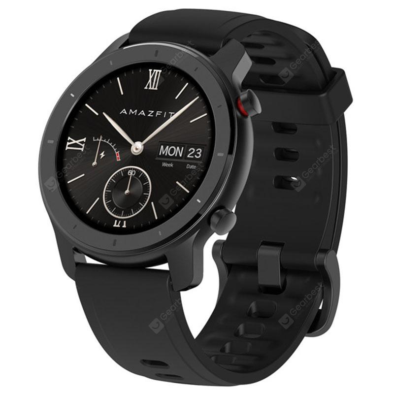AMAZFIT GTR 42mm Smart Watch 12 Days Battery Life 5ATM Waterproof Global Version   Xiaomi Ecosystem Product    Black 42mm Aluminum Alloy Case