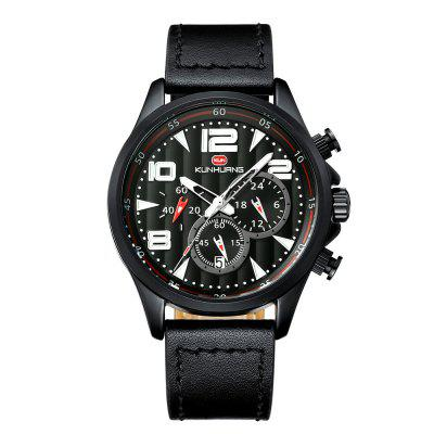 KUNHUANG 1013 Men Sports Quartz Watch Large Dial Three Eyes Six Needles Waterproof