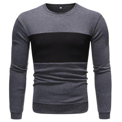 Men's Long-sleeved Round Neck Sweater Stitching Pullover