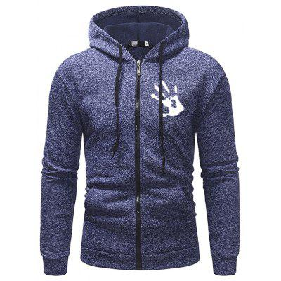 Men's Zipper Palm Print Hoodie Plus Velvet Casual Hooded Jacket