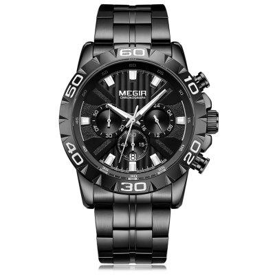 MEGIR 2087 Fashion többfunkciós Férfi Quartz Business Watch Steel Strip