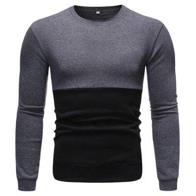 Men's Long-sleeved Round Neck Sweater Stitching Pullover Fashion
