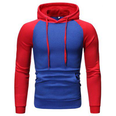 Men's Stitching Hoodie Fleece Pullover Hooded Fashion Sweater