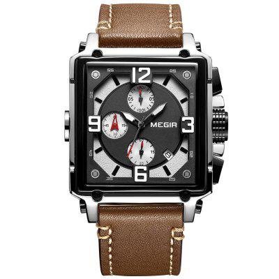MEGIR 2061 Men's Quartz Watch Retro Fashion Square Multifunction Leather Style with Calendar Function