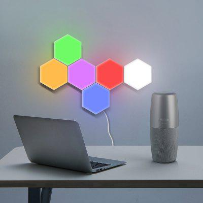 Touch Control Colorful Creative - Lámpara de pared hexagonal, 6 colores