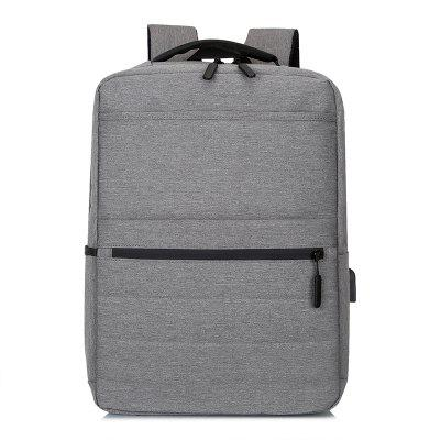 Men's Large-capacity Backpack Solid Color Laptop Bag with Compartment