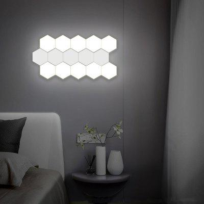 Mano de costura táctil brillante luz de pared hexagonal modular enchufe de la UE 5PCS