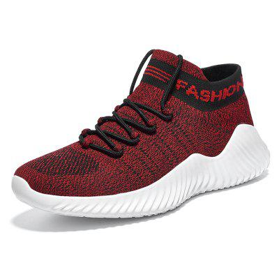 High Top Breathable Flying Woven Men's Sports Shoes Large Size Ultra Light