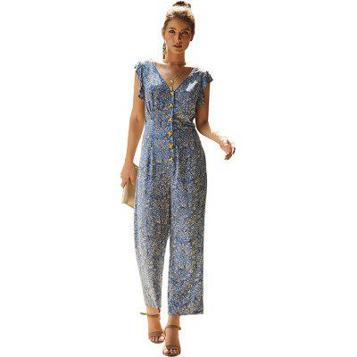 Floral Print Ladies Casual Jumpsuit