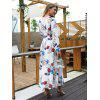 V-neck Ladies Print Long Sleeve Dress with Belt Style - PALE BLUE LILY
