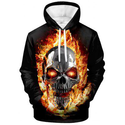 Men's Creative 3D Skull Print Hoodie Long Sleeve