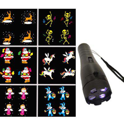 SE679A Plug-in Card Cartoon Anime Pattern Light Toy Projection Flashlight